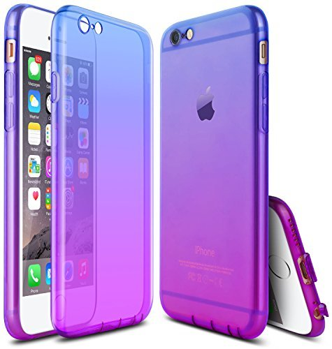 JWCTECH iPhone 6 Case Colorful Gradient Slim iPhone 6s Case Impact Resistant Shock Absorbent Flexible TPU Bumper Case for Apple iPhone 6/6s 4.7inches Blue&Purple