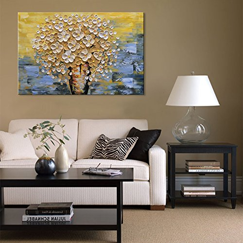Modern Yellow abstract Wall Art Hand Painted Yellow Flower Oil