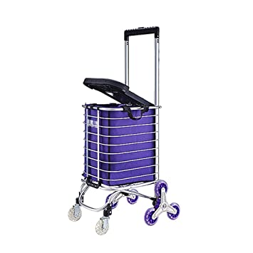 Escalera de Mano de Aluminio Plegable portátil para Escalador con 8 Ruedas silenciosas, fácilmente Plegable y portátil para Ahorrar Espacio + Carro de ...