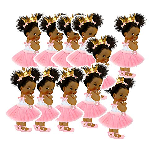 Baby Princess Party Cut-Outs, African American Princess Baby Shower Decoration (2 1/2 inches) ()