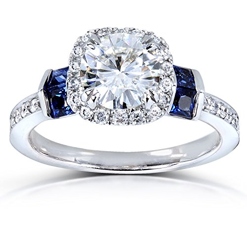Forever One Colorless (D-F) Moissanite Diamond & Blue Sapphire Engagement Ring 1 3/5 CTW 14k White Gold