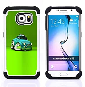 For Samsung Galaxy S6 G9200 - car teal cartoon kids Dual Layer caso de Shell HUELGA Impacto pata de cabra con im??genes gr??ficas Steam - Funny Shop -