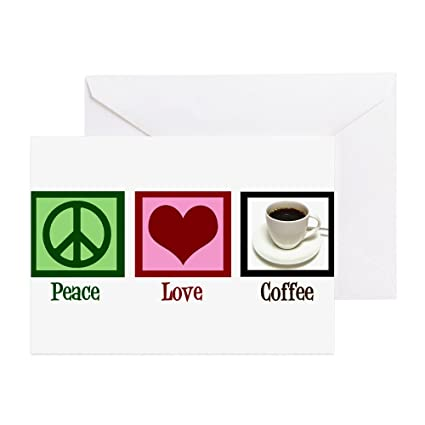 Amazon Cafepress Peace Love Coffee Greeting Card 20 Pack