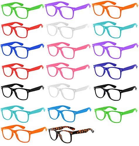 (20 Pieces Per Case) Wholesale Lot Clear Lens Glasses. Assorted Colored Frame Fashion Glasses. Bulk Glasses - Wholesale Bulk Nerdy Party Glasses, Party Supplies.