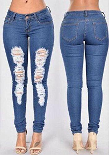 Stretch Blu Skinny Navy Ripped Jeans Holes Stonewashed 2018 Mid Blue Pantaloni Donna Waist xSqEwPBa