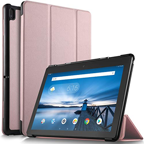IVSO Case for Lenovo TAB E10, Ultra Lightweight Protective Slim Smart Cover Case Compatible with Lenovo TAB E10 2018 Released Tablet (Rosegold)