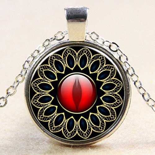 1pc Vintage Cabochon Tibetan Silver Glass Ruby Eye Chain Pendant Necklace E - Nickel Geo Pendant