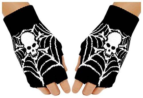 Fingerless Gloves Spider Web Skull for (Spider Web Fingerless Gloves)