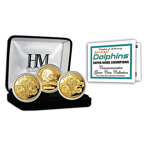 (Miami Dolphins 2-time Super Bowl Champions Gold Game Coin Set)