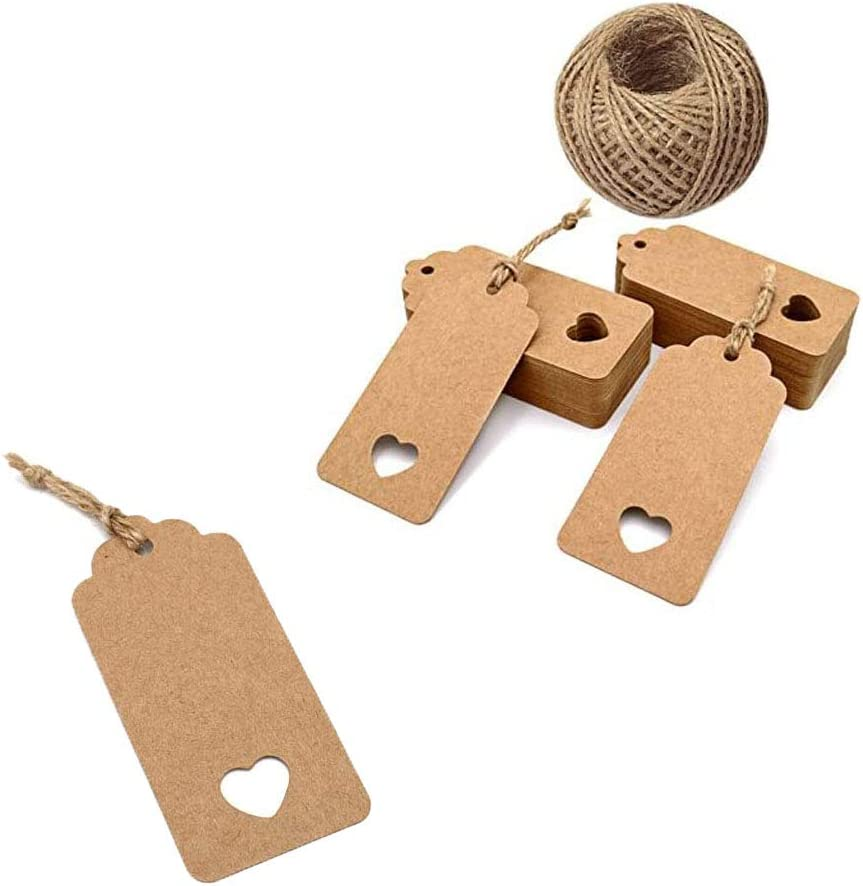 TopWins Gift Tags with String for Presents 100pcs Wedding Birthday Luggage Label Card Paper Tags Brown