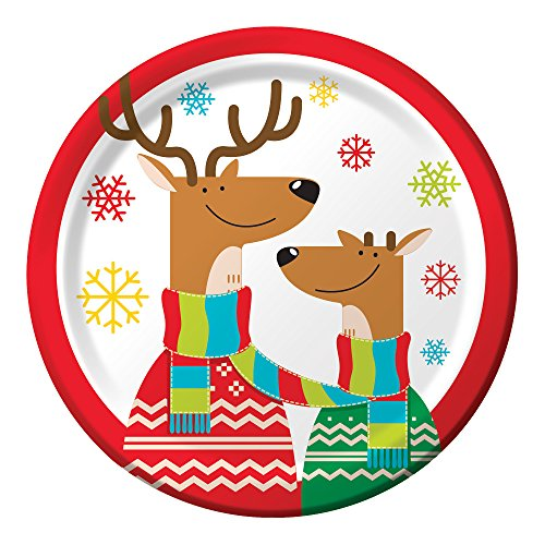Creative Converting 8 Count Sturdy Style Deer in Scarves Paper Dessert Plates, 7