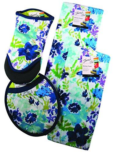 (4 Piece Fiesta Kitchen Set - 2 Terry Towels, Puppet Oven Mitt, Oval Pocket Mitt (Garden Cool))