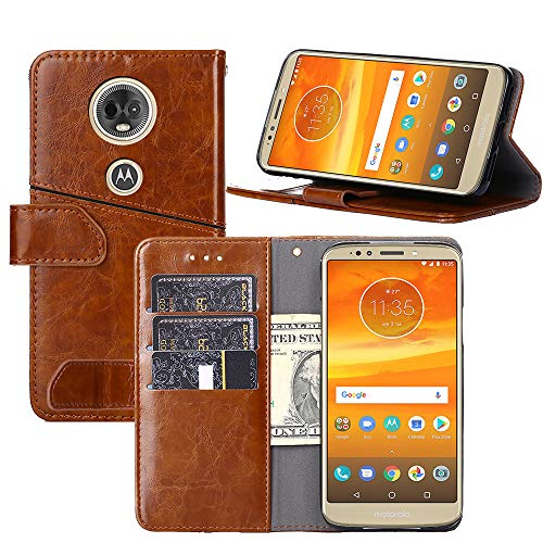 Moto E5 Plus Case, Moto E5 Supra Case, YEEGG Geometric Pattern Luxury PU Leather Wallet Flip Protective Case Cover with Card Slots and Stand for Motorola Moto E Plus (5th Generation) (Brown)