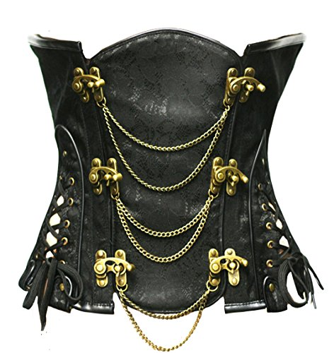 Bslingerie Gothic Punk Heavy Duty Brown Faux Leather Steel Boned Underbust Corset (XL, Black) -