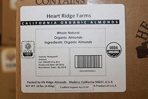 USDA Organic Raw Bulk Whole Natural Heart Ridge Farms California Almonds Packaged in Air Free Foil Bag to Maintain Highest Quality Freshness (10 pound box) by Heart Ridge Farms (Image #6)