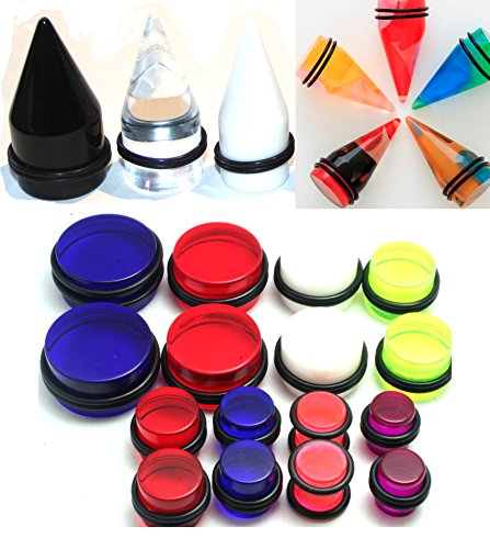 24pc 00g 7/16 1/2 9/16 5/8 3/4 7/8 1 Inch Gauges Ear Stretching Kit Color Tapers Plugs Plus Instructions