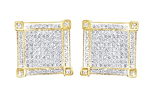 14K Solid Yellow Gold Round Cut White Natural Diamond Hip Hop Cluster Stud Earrings (1.39 Cttw) by wishrocks