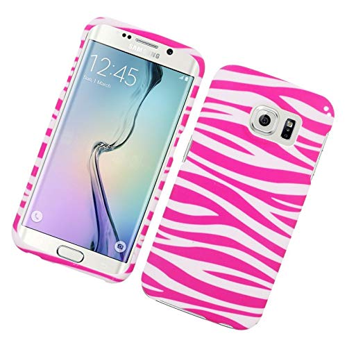 Insten Zebra Rubberized Hard Snap-in Case Cover Compatible with Samsung Galaxy S6 Edge, Pink/White