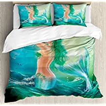 Mermaid Decor Queen Size Duvet Cover Set by Ambesonne, Mermaid in Ocean on Waves Tail Sea Creatures Dramatic Sky Dark Clouds, Decorative 3 Piece Bedding Set with 2 Pillow Shams
