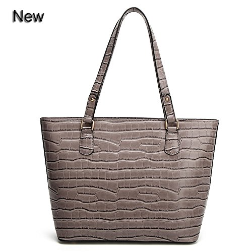 Large Leather Tote Purse Bags Zippered Top Handle Shoulder Handbags for Women, QUEENTOO(Grey)