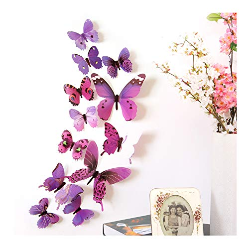 MEIHUALU 3D Colorful Butterfly Wall Stickers Decor, DIY Art Decor Crafts for Home, Room, Bathroom, Bedroom, Offices, Classroom, Room Decor for Teen Girls and Boys Art Decorations (Purple) from MEIHUALU