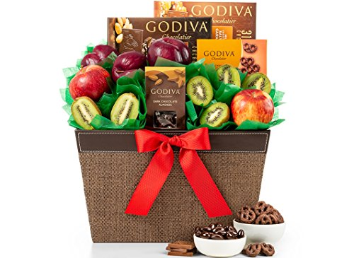 Fresh Fruit and Godiva Chocolates Gift Basket by GiftTree | Gourmet Chocolates and Confections from Godiva + Fresh Pears, Crisp Apples, Juicy Plums and Kiwi Fruit