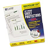 C-Line Products, Inc. Products - Recycled Top Load Sheet Protector, Reduced Glare, 100/BX, CL - Sold as 1 BX - Sheet protectors feature a top-loading design that eliminates the need for hole punching. Standard-weight, reduced-glare finish makes printed ma