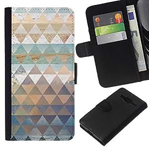 WINCASE Cuadro Funda Voltear Cuero Ranura Tarjetas TPU Carcasas Protectora Cover Case Para Samsung Galaxy Core Prime - polígono patrón de la naturaleza verde azulado del agua en colores pastel