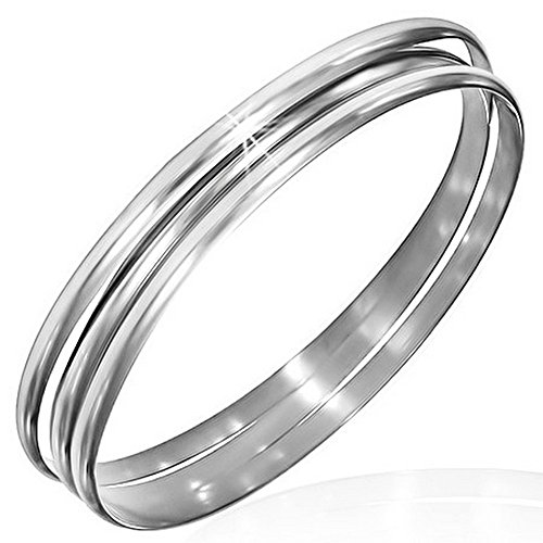 (My Daily Styles Stainless Steel Silver-Tone Three Stackable Womens Bangle Bracelets)
