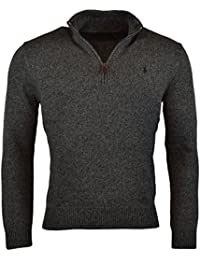 Mens Half Zip Ribbed Trim Cotton Sweater