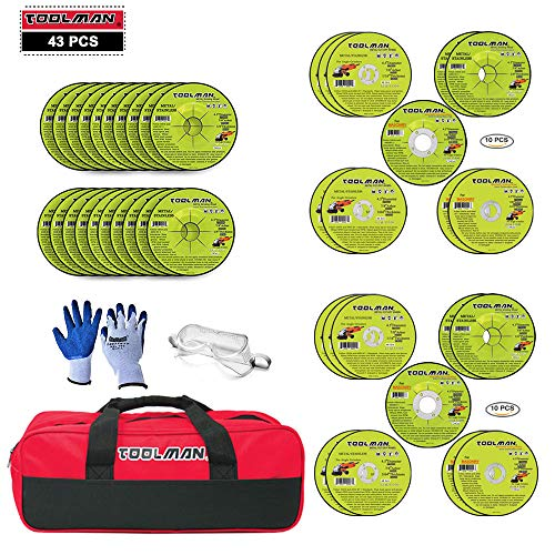 4-1/2 in. 24 Grit Metal Grinding Wheel 20pc & 4-1/2 in. Metal Masonry Grinding Cut-Off Wheel Assorted Set 20 PC & 1PC Chemical Splash Goggle High-Impact Safety Goggle & 1pc TOOLMAN Tool Bag & Glove