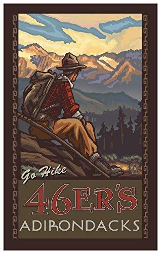 46ers Adirondacks New York Mountain Hiker Man Travel Art Print Poster by Paul A. Lanquist (12