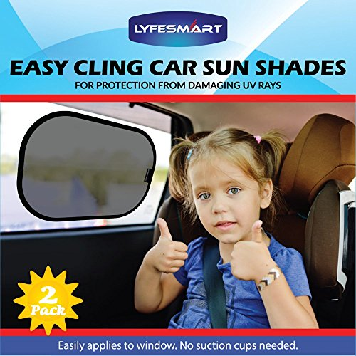 Car Sun Shade (2 Pack) Window Shade, Black, Adjustable, Visor, Cling to Side window using static. Sunshade blocks over 97% of Harmful UV Rays. Protect infant, baby, toddler and kids - Blackout Shades Sunglasses