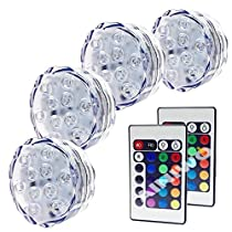 LED Waterproof Battery Powered Submersible Accent Night Mood Lights with IR Remotes For Party, Wedding, Garden, Swimming Pool, Vase, Fish Tank, Christmas, Festival Decoration Lighting