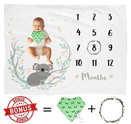 Baby Monthly Milestone Blanket Unisex, Best Baby Shower Gift & Free Bib with Pacifier/Teether Holder,Personalized Photography Background Blanket, Newborn Baby Blankets, Large & Soft Blanket 60