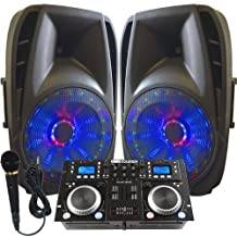 "Light Em' UP! - Dj System - Lighted Powered 15"" DJ Speakers - 1600 Watts - Bluetooth, MP3, USB, SD, FM Radio or plug in your laptop or iPhone - Plug and Play - Light Show Included"