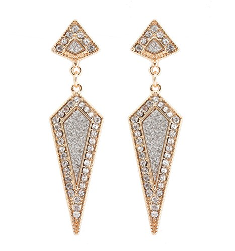 (Daxi Geometric Earrings Rhinestone Triangle Drop Earrings Glitter Dagger Post Earring for Women Girls)