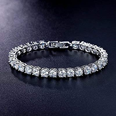 MEETYOO Tennis Bracelet with Swarovski Elements Crystal Jewelry Lady Valentines Gift Zirconia Platinum Plated Bangle