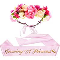 """Growing a Princess"" Sash & Flower Crown Kit - Baby Shower Sash Princess Baby Shower Baby Sprinkle (Pink & Gold)"
