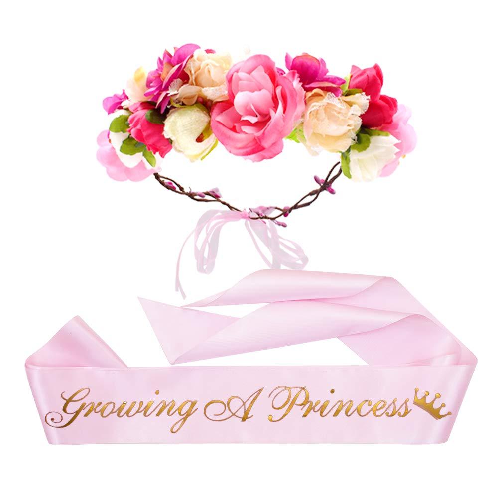 ''Growing a Princess'' Sash & Flower Crown Kit - Baby Shower Sash Princess Baby Shower Baby Sprinkle (Pink & Gold) by TTCOROCK (Image #1)