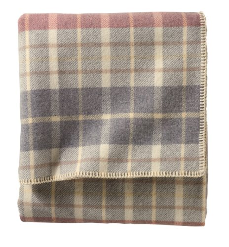 [Pendleton Eco-Wise Wool Washable Queen Blanket, Blush/Grey Plaid] (Wool Washable Blanket)
