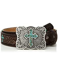 Nocona Western Belt Girls Embossed Painted Crosses 30 Brown N4438802