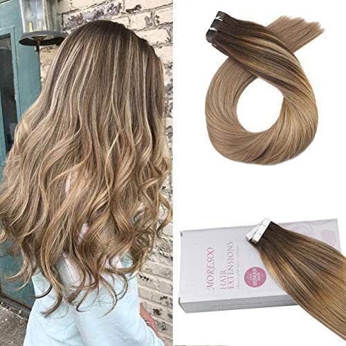 Moresoo 20 Inch Tape in Human Hair Extensions Remy Human Hair Skin Color Brown #3 Fading to Honey Blonde #12 Hair Extensions Dip Dye Tape in Hair 20pcs 50G Adhesive Soft Seamless Hair Exensions