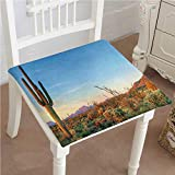 Mikihome Chair Pad Soft Seat Cushion Decor Sun Goes Down in Desert Prickly pear Cactus Southwest Texas National Park Expandable Polyethylene Stuffed Machine Washable 32''x32''x2pcs