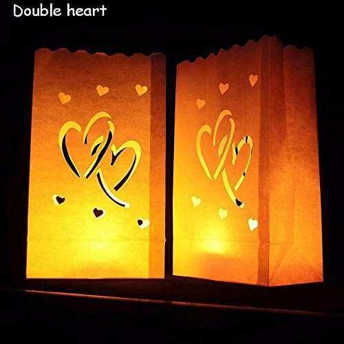 Fascola White Luminary Bags - 10 Count - Double Heart Design - Flame Resistant Paper - Christmas Holiday Outdoor Decorations - Party and Event Decor - Luminaria Candle Bag - Ten Bags (Double Heart)