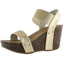 DailyShoes Women's Wedge Platform Slide On Comfort Ankle Elastic Strap Sandal Buckle Shoes