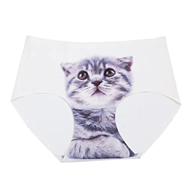 bfe4dbad7 MONDAYNOON Sexy Cat Print Panty Hipsters Kitty Underwear Anti-exposure  Lingerie for Women (Free