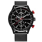 Treeweto Men's Fashion Wrist Watches Analog with Black Milanese Mesh Band Strap