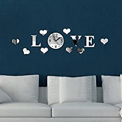 LING'S SHOP Acrylic 3D Mirror Effect LOVE Decal Wall Sticker Clock Home Room Decoration