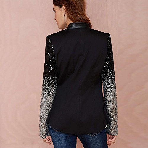 Enlishop Women Formal Sequin Leather Blazer Jacket Cardigan Trench Coat Business Suit M Black by Enlishop (Image #3)